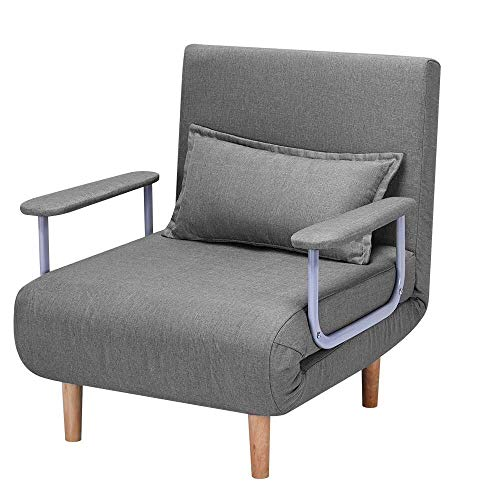 HOMHUM Convertible Sofa Bed Sleeper Chair,Adjustable 5 Position Backrest, Folding Arm Chair Sleeper w/Pillow, Upholstered Seat, Leisure Chaise Lounge Couch for Home, Office(Gray)