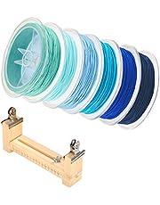 JKGHK Nylon Kraal Weven Draad Kralen Draad Snoer Geschikt Voor Gevlochten Armbanden, Kleurenpakken, Gratis Gevlochten Touwhouder,Blue series