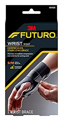 Futuro Energizing Wrist Support, Moderate Stabilizing Support, Right Hand, Small/Medium, Black