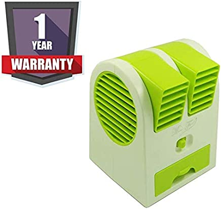 DRUMROAR Hard Plastic Mini Fragnance USB Air Conditioner Cooling Portable Desktop Dual Bladeless Durable Air Cooler Fan Powered by 3 Aa Rechargeable Batteries
