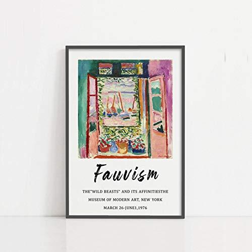 Carteles de exposición de Matisse, fauvismo, colegios con ventanas, carteles y grabados modernos, lienzos familiares sin marco D 60x80cm