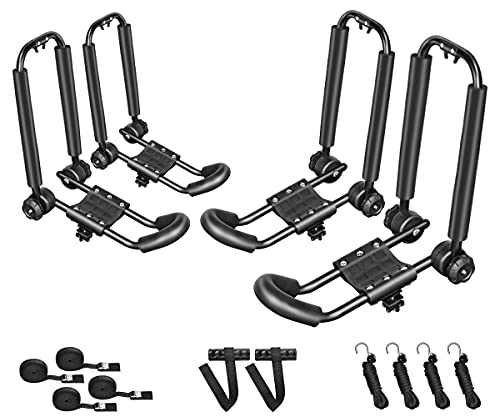 DrSportsUSA 2 Pairs Universal Foldable J-Bar Kayak Rack Folding Car Roof Top Carrier for Canoe, SUP, Kayaks, Surfboard and Ski Board Rooftop Mount on SUV, Car and Truck