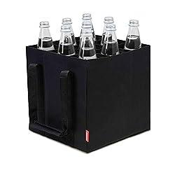 Flaschengr/ö/ße bis 1,5L 27 x 27 x 27 cm Flaschen Tasche schwarz rei/ßfest 9er Tragetasche waschbar Navaris Bottlebag 9 F/ächer Flaschentasche