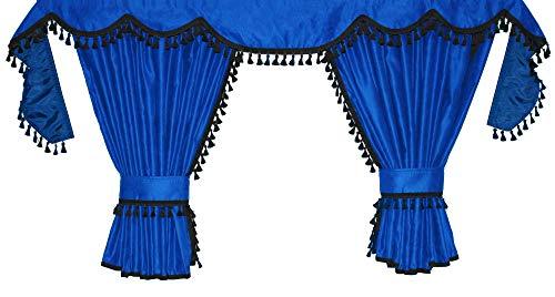Adomo LKW Gardinen für TGX XXL Fahrerhaus, blau-schwarz, Fransen 4 cm.