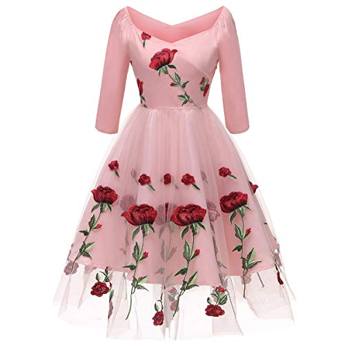 Women's Vintage Off Shoulder Rose Embroidered Flower 1950s Evening Prom Party Dress Retro Rockabilly 3/4 Sleeves Tulle Lace Wedding Formal Gown Cocktail A Line Midi Swing Dress Pink XX-Large
