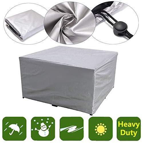 Cubiertas para muebles de jardín, Cubiertas para mesas de muebles de patio Tela Oxford resistente al agua para exteriores Jardín a prueba de viento Anti-UV Rectangular Cubo de ratán Cubierta
