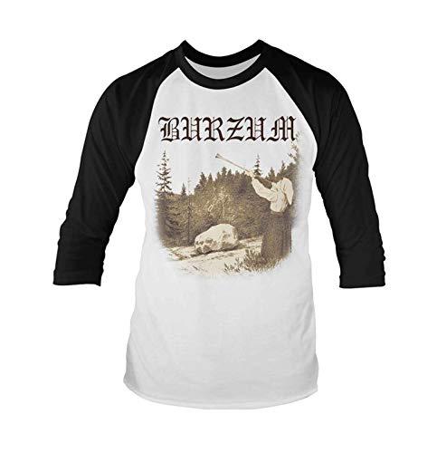 Burzum T Shirt Filosofem Band Logo Nuovo Ufficiale Uomo Bianca Baseball 3/4 Size XL