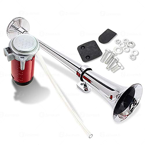 Zone Tech 12V Single Trumpet Air Horn - Premium Quality Silver Single Trumpet Air Horn Chrome + Compressor Super Loud 150db for Truck, Train Lorry, Boat and SUV