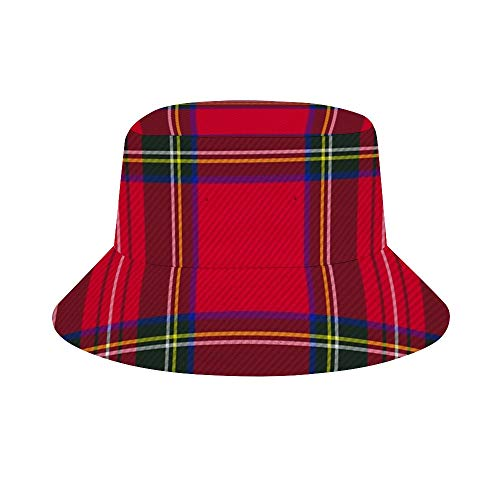 popluck Kevin-Hugh Red Plaid Scottish Red Tartan Red Kilt Plaid Pattern Nerd Girl Skirt Fishing Hat and Bucket Hats with Sun Protection   Premium UPF 50+ Packable Reversible Hats for Men and Women