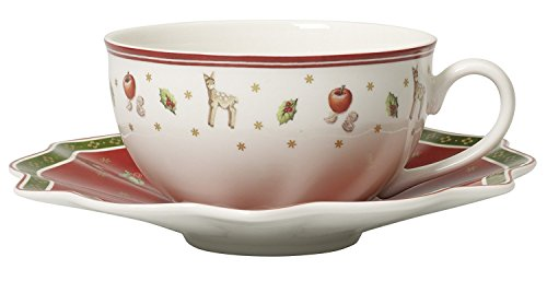 Villeroy & Boch Milchkaffeetasse mit Untertasse, 22 x 16 x 8 cm, weiß/rot, Hartporzellan