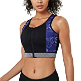 CtriLady High Impact Workout Sports Support Bra Full Cup Top Vest with Front-Zipper Wirefree for Women Fitness (style1 Black Sport Bra, XL (fits 38C 38D 40A 40B))