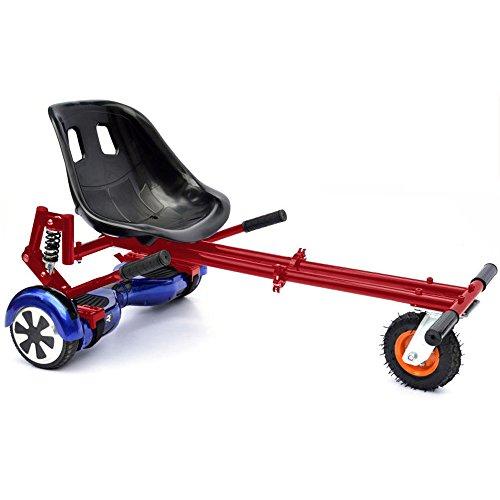Hoverkart Rosso per Hoverboard! Trasforma il tuo balance scooter in un kart con ammortizzatori posteriori e ruota con gomma pneumatica XL - sedia self balancing con sospensioni off road Red 2045