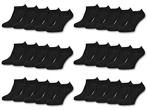 sockenkauf24 10 | 20 | 30 Paar Sneaker Socken Damen & Herren Schwarz & Weiß Baumwolle (39-42, 30 Paar | Schwarz)