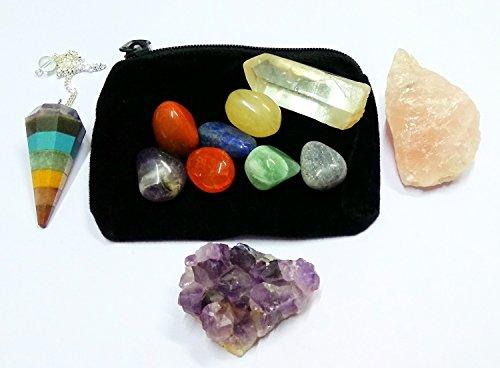 WholesaleGemShop 11 pcs Chakra Crystal Healing Kit/Lot of 7 Chakra tumbles, Chakra Pendulum, Amethyst Cluster, Raw Rose Quartz, and Crystal Point/Bohemian Meditation Set Gift Bracelet