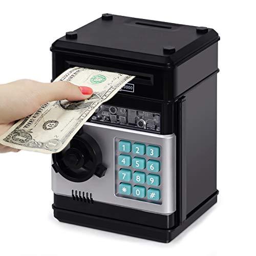 Highttoy Spardose für Kinder von 3 bis 12 Jahren,Elektronisches Geldsicheres Sparschwein für Kinder ATM Passwort Safe Geldbank Spielzeug für Jungen Mädchen von 3 bis 12 Jahren Geschenke Schwarz