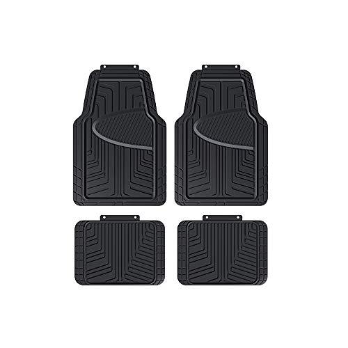AmazonBasics 4-Piece All-Season Rubber Floor Mat for Cars, SUVs and Trucks, Black