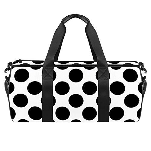 LAZEN Hombro Handy Sports Gym Bags Travel Duffle Totes Bag para hombres, mujeres, patrón de puntos negros
