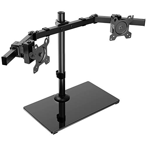 HUANUO Dual Monitor Stand - Free Standing Height Adjustable Two Arm Monitor Mount with Glass Base for 17 inch to 32 inch LCD Screens with Swivel and Tilt, Max VESA 100x100mm