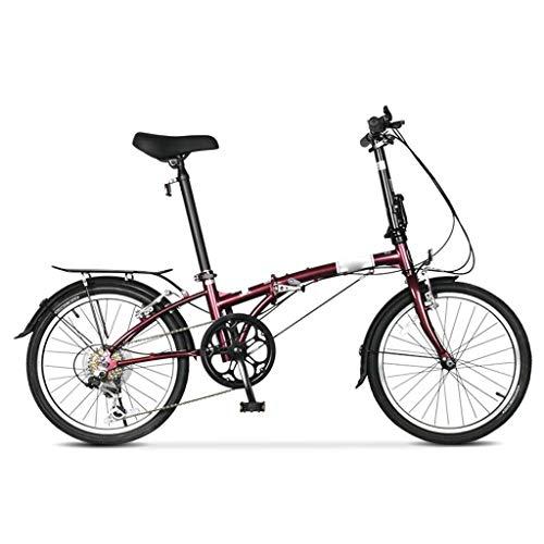 Ssrsgyp Bicicleta Plegable De 6 Velocidades, Scooter Urbano De Acero De Alto Carbono Variable, Ruedas Delanteras Y Traseras, Bicicleta De Montaña con Freno En V para Exteriores (Color : Wine Red)