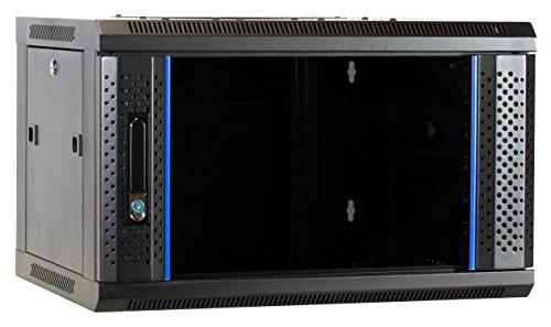 6 HE Serverschrank, Wandgehäuse, mit Glastür (BxTxH) 600 x 450 x 367mm