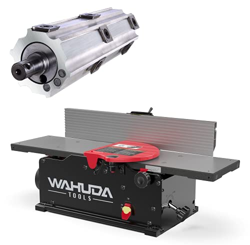 Wahuda Tools Jointer – 6-inch Benchtop Wood Jointer, Spiral Cutterhead Portable Jointer w/Cast Iron Tables & 4-Sided Carbide Tips & 10amp motor, Woodworking Tools for All Wood Types (50160CC-WHD)
