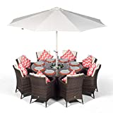 Savannah 8 Seater Brown Rattan Dining Table & Chairs with Ice Bucket Drinks Cooler | Outdoor Poly Rattan Garden Dining Furniture Set with Parasol & Cover