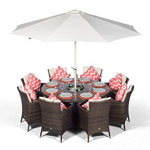Savannah Rattan Gartenmöbel Set für 8 Personen Braun | Polyrattan Garten Möbel Sitzgruppe mit rundem Tisch, Getränkekühler und Sonnenschirm | Lounge Möbel Terrasse, Balkon Möbel Set | Mit Abdeckung