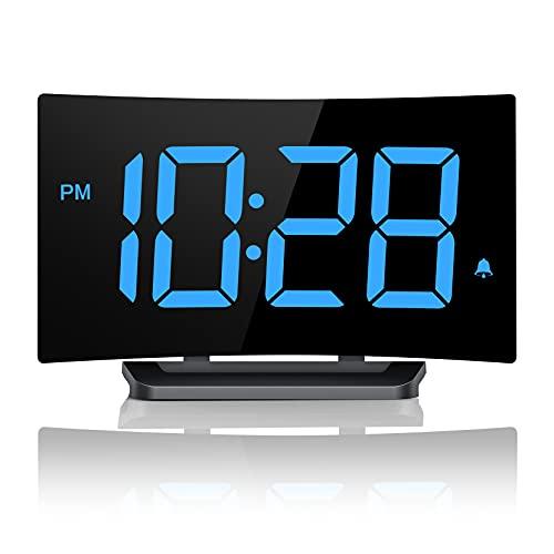 WELLBOX Alarm Clock, Bedroom Clock with 6 Brightness, 3 Alarm Sounds, Easy Digital Clock for Kids and Adults, Desk & Shelf Clocks for Bedroom Kitchen Office, Adjustable Volume, Snooze, 12/24H