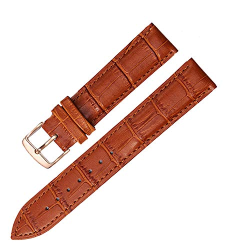 Universal Replacement Leather Watch Strap Leather Watchband for Men Women 12mm 14mm 16mm 18mm 19mm 20mm 21mm 22mm Watch Band-Light Brown Rosegold-21mm