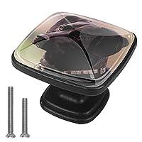 キャビネットノブ4個クリスタルガラスプルハンドル驚くべき黒犬 家具のドアまたは引き出しを開く場合