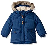 Osh Kosh Boys' Toddler Heavyweight Winter Jacket with Hood Trim, Denim Daze, 2T