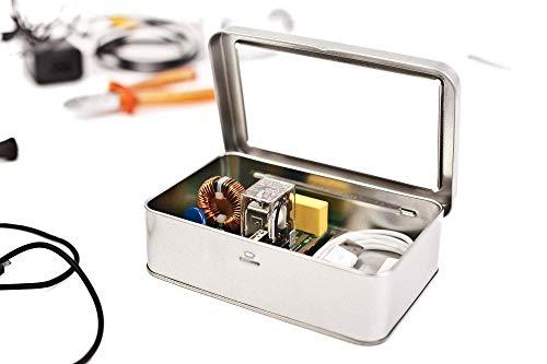 Opbergdoos metalen doos blikken doos met deksel, metalen doos 14,5 x 9 x 3,5 cm groot, hoekig, leer, zilver, rechthoekige bewaardoos, blikken doos, voorraaddoos universeel inzetbaar