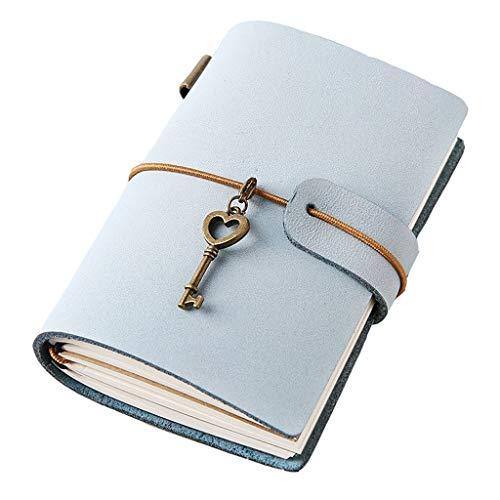 Notitieboek A7, notitieboek, lege pagina's, navulbaar, dagboek, bruin vintage, PU-leer, voor meisjes, jongens, vrouwen, mannen, dagboek, memo's, notitieboekje E