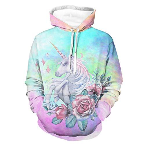 Cutenono Unisex Herren Damen Kapuzenpullover Einhorn Blumen Pullover Langarm Hoodie Sweatshirt Kapuzenjacke mit Taschen white l