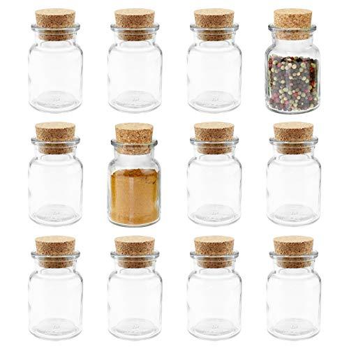 12 WELLGRO Gewürzgläser mit Kork Verschluss - 150 ml, 6 x 10 cm (ØxH), Gläser Made in Germany