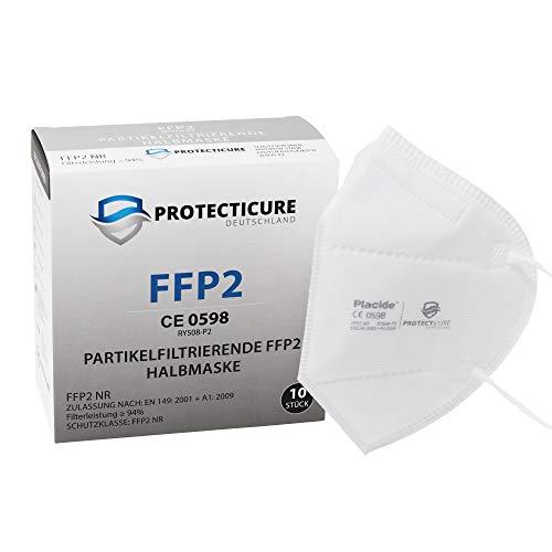 Hochwertige FFP2 NR Atemschutzmasken - 10 Stück - CE Zertifiziert (CE0598) Protecticure RY508-P2