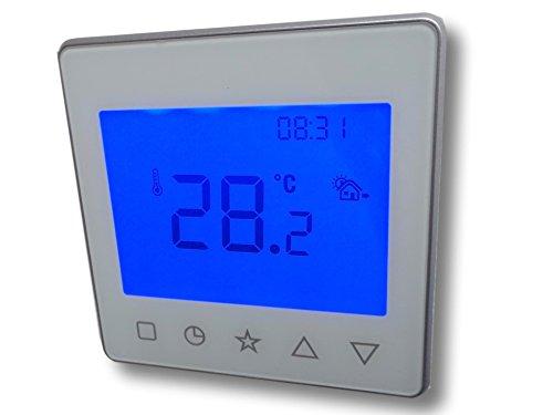 SM-PC®, Raumthermostat Thermostat programmierbar Touchkey Bedienung Digital weiß/silber #837