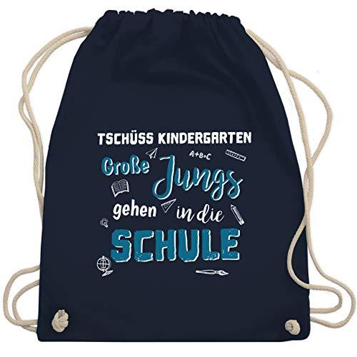 Einschulung und Schulanfang - Tschüss Kindergarten Große Jungs - Unisize - Navy Blau - einschulung junge gym bag - WM110 - Turnbeutel und Stoffbeutel aus Baumwolle