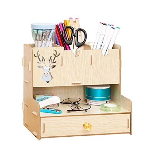 litulituhallo Organizador de escritorio para bolígrafos, organizador de papelería, organizador de papelería, madera de roble, 26,3 x 16,3 x 22,6 cm