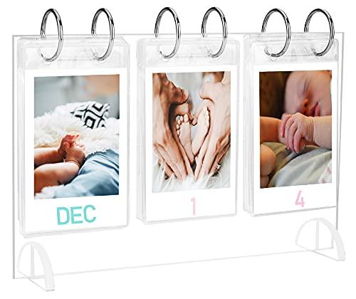 WINKINE Desktop Acryl 2x3 Zoll Fotorahmen | Tabletop Flipping Mini Fotoalbum | Verwendung für Instax Mini Film & Polaroid Snap Instant Z2300 & Geschenk 26 Taschen (52 Fotos Display)