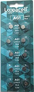 10 Pack LOOPACELL AG1 Alkaline Watch Batteries - SR621, SR621SW, 364, 164