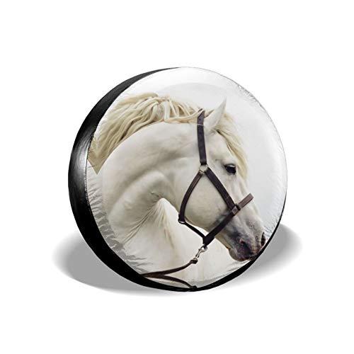 Xhayo Cubierta universal para neumáticos de repuesto con estampado de caballo, impermeable, a prueba de polvo, para remolques, RV, SUV y muchos vehículos (negro, diámetro 14-17 pulgadas)