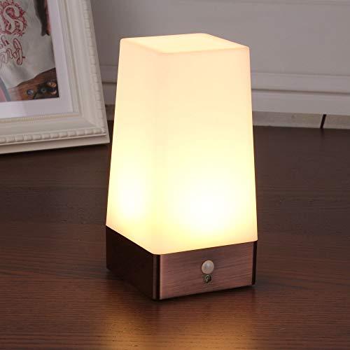 WRalwaysLX Tischlampe, Retro-LED-Nachtlicht, Nachttischlampe mit kabellosem PIR-LED-Bewegungssensor, Betriebenes Licht für Wohnzimmer, Schlafzimmer, Badezimmer, Flur, Küche (weißes Licht- Quadrat)