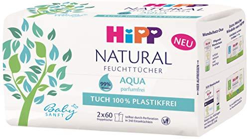 HiPP Babysanft Feuchttücher Natural Aqua, 2x60 Stück