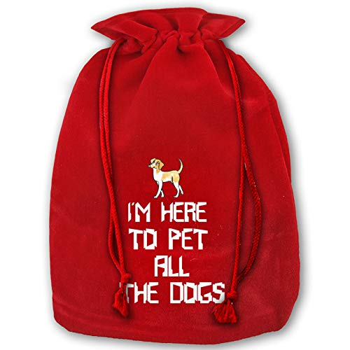 OPKB Red Christmas Drawstring Bags, Gift Bag Pouchfor Candy Wrapper Wedding Birthday Christmas Party Favor Supplies to Pet All The Dogs