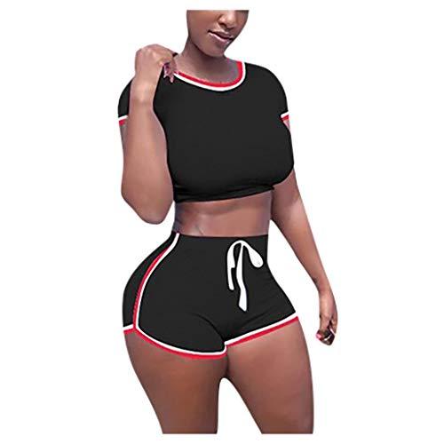 Trainingsanzüge Damen Sportanzug T-Shirts Kurzarm Shorts Summer Anzug Split 2 Stück Jogginganzug Set Casual Baumwolle Blend Suit, Schwarz, Medium