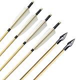 ZSHJG 6pcs Tiro al Arco Flechas de Madera Plumas de Pavo Tradicional Flechas de Madera del Eje Caza Flechas de Destino con Punta de Flecha para Arco Largo de Arco Recurvo (Tipo 2)