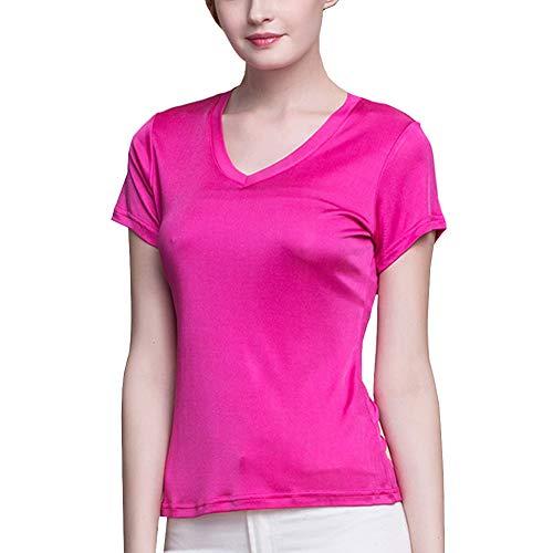 E-girl Einfarbig Damen Seiden Bluse Seidentop Slim V-Ausschnitt Kurzarm Seiden Top,BS1008,Rosa,XXL