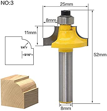 WHF-WUJIN 1pc 8mm Shank Trimmer Ceaning Flush Trim Wood Router Bit Straight End Milll Tungsten Milling Cutters for Wood Woodworking Tools Size : NO 3