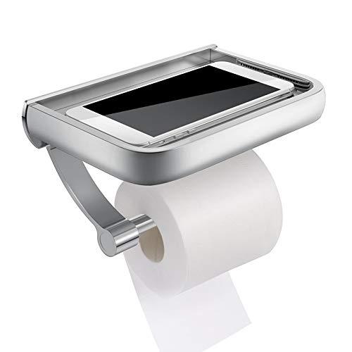 AXUHENGO Soporte de Papel de Rollo de Papel higiénico de baño montado en la Pared Soporte de teléfono de aleación de Aluminio Cajas de pañuelos con Estante de Almacenamiento